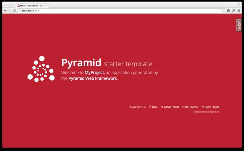 Page d'accueil par défaut de Pyramid 1.5.1